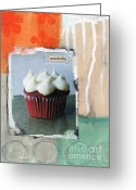 Wonderful Greeting Cards - Red Velvet Cupcake Greeting Card by Linda Woods