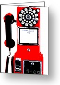 Stationery Mixed Media Greeting Cards - Red Vintage Telephone Pop Art Greeting Card by ArtyZen Studios