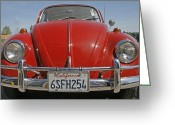 Road Trip Greeting Cards - Red Volkswagen Beetle Greeting Card by Georgia Fowler