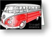 Deluxe Greeting Cards - Red Volkswagen Greeting Card by Cheryl Young