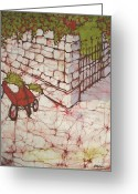 Fine Art Batik Tapestries - Textiles Greeting Cards - Red Wagon Greeting Card by Kristine Allphin