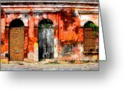 Darian Day Greeting Cards - Red Wall by Darian Day Greeting Card by Olden Mexico