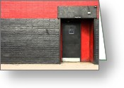 Entrance Door Greeting Cards - Red Wall Greeting Card by Viktor Savchenko