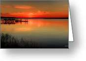 Docks Greeting Cards - Red Water Greeting Card by Phill  Doherty