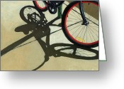 Bike Riding Greeting Cards - Red Wheels - Bicycle art oil painting Greeting Card by Linda Apple