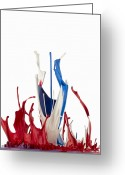 Vertical Abstract Greeting Cards - Red White And Blue Abstract Liquid Greeting Card by Don Farrall