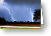 Lightning Weather Stock Images Greeting Cards - Red White And Blue Greeting Card by James Bo Insogna