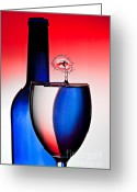 Splashes Greeting Cards - Red White and Blue Reflections and Refractions Greeting Card by Susan Candelario