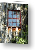 Old Mill Of Guilford Greeting Cards - Red Window Greeting Card by Sandi OReilly