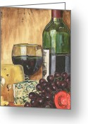 Wine Bottle Greeting Cards - Red Wine and Cheese Greeting Card by Debbie DeWitt