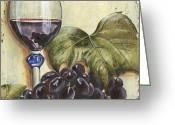 Seafoam Greeting Cards - Red Wine And Grape Leaf Greeting Card by Debbie DeWitt