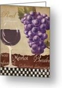Vino Greeting Cards - Red Wine collage Greeting Card by Grace Pullen