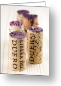 Wine Cellar Greeting Cards - Red wine corks from Ribera del Duero Greeting Card by Frank Tschakert