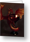 Chest Greeting Cards - Red Wine Dragon Greeting Card by Daniel Eskridge