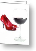 Red Shoes Greeting Cards - Red Wine Glass Red Shoes Greeting Card by Dustin K Ryan
