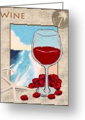 Tropical Island Pastels Greeting Cards - Red Wine Greeting Card by William Depaula