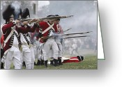 Charlestown Greeting Cards - Redcoats Shoot Muskets In A Reenactment Greeting Card by Ira Block