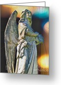 Angel Statue Greeting Cards - Redemption Greeting Card by Cheryl Young