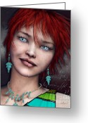 Earring Greeting Cards - Redhead Greeting Card by Jutta Maria Pusl