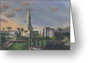 California Painting Greeting Cards - Redlands Temple Greeting Card by Jeff Brimley