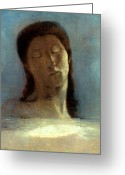 Redon Greeting Cards - Redon: Closed Eyes, 1890 Greeting Card by Granger