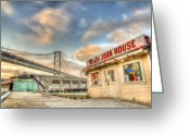 Embarcadero Greeting Cards - Reds and the Bay Bridge Greeting Card by Scott Norris