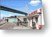 San Francisco Bay Greeting Cards - Reds Java House and The Bay Bridge at San Francisco Embarcadero . 7D7712 Greeting Card by Wingsdomain Art and Photography