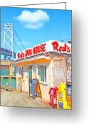 Baybridge Greeting Cards - Reds Java House and The Bay Bridge at San Francisco Embarcadero Greeting Card by Wingsdomain Art and Photography