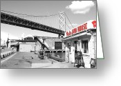 Oakland Bay Bridge Greeting Cards - Reds Java House and The Bay Bridge in San Francisco Embarcadero . Black and White and Red Greeting Card by Wingsdomain Art and Photography