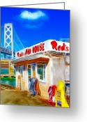 Oakland Bay Bridge Greeting Cards - Reds Java House Electrified Greeting Card by Wingsdomain Art and Photography