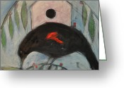 Red Wing Blackbird Greeting Cards - Redwing White House Greeting Card by Tim Nyberg