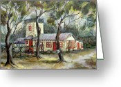 Athletic Painting Greeting Cards - Redwood City Tankhouse Greeting Card by Jean Groberg