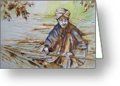 At Work Drawings Greeting Cards - Reeds For Furniture Greeting Card by Myra Evans
