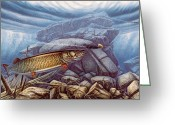 Canada Painting Greeting Cards - Reef King Musky Greeting Card by JQ Licensing
