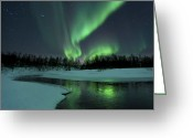 Serene Greeting Cards - Reflected Aurora Over A Frozen Laksa Greeting Card by Arild Heitmann