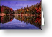 Autumn Photographs Greeting Cards - Reflected Autumn Lake Greeting Card by William Carroll