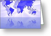 Earth Map Greeting Cards - Reflected Parallel Worlds Map Greeting Card by Georgeta  Blanaru