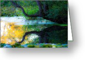 Blues And Greens Greeting Cards - Reflected Tree in Pastel Landscape Greeting Card by Marie Jamieson
