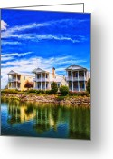 St. Charles Greeting Cards - Reflecting On New Town 3 Greeting Card by Bill Tiepelman