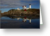Cape Neddick Light Station Greeting Cards - Reflecting on Nubble Greeting Card by Don Miller