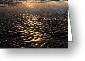 Surf Silhouette Greeting Cards - Reflection And Wave Of Sand Greeting Card by Setsiri Silapasuwanchai