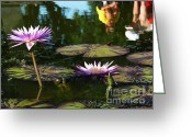 Lilly Pad Greeting Cards - Reflection Greeting Card by Jeanne  Woods