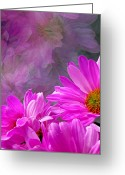 Flower Greeting Card Greeting Cards - Reflection of Flowers in Window Greeting Card by Tam Graff