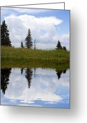 City Illusion Greeting Cards - Reflection of Lake Greeting Card by Odon Czintos