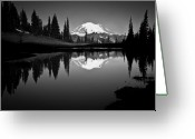 Snowcapped Greeting Cards - Reflection Of Mount Rainer In Calm Lake Greeting Card by Bill Hinton Photography