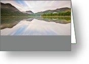 Perfection Greeting Cards - Reflection Of Mountains And Trees On Lake Greeting Card by John Ormerod