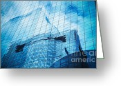 Property Greeting Cards - Reflection Of Skyscraper  Greeting Card by Setsiri Silapasuwanchai