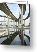 Beltway Greeting Cards - Reflection of the highway Greeting Card by Suwit Ritjaroon