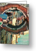 Places In Venice.venecia.venezia.venice Greeting Cards - Reflection-Venice Italy Greeting Card by Tom Prendergast