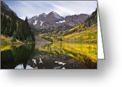 Rocky Mountains Greeting Cards - Reflections and Aspen Trees Greeting Card by Tim Reaves
